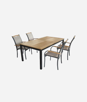 Wooden & Iron Dining Table Set