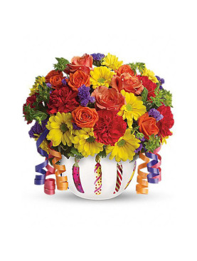 Bunch of Assorted Gerberas in a Glass Vase