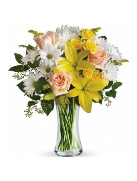 Glass Vase of Yellow Roses