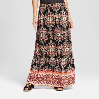 Raabta Womens Floral Printed Black With Printed Skirt